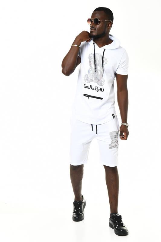 DAVID&GERENZO - Beyaz Ayılı Taş Aksesuarlı Kapüşonlu Şort T-shirt Takım