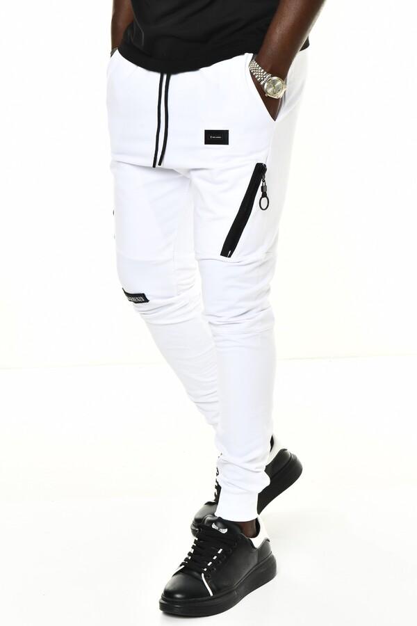 DAVID&GERENZO - Beyaz Fermuar ve Logo Aksesuarlı Ribana Paça Eşofman Altı