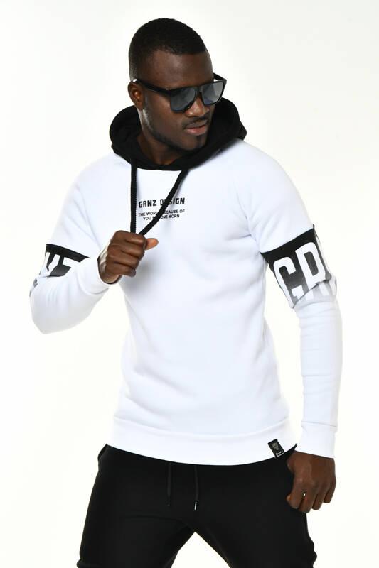 DAVID&GERENZO - Beyaz Kol Baskı Detaylı Kapüşonlu Sweatshirt
