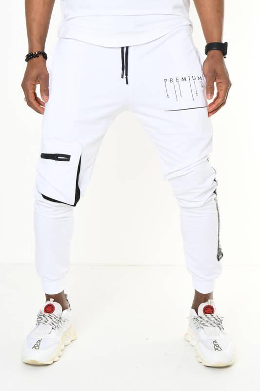 DAVID&GERENZO - Beyaz Ribana Paça Kargo Cepli Jogger Pantolon