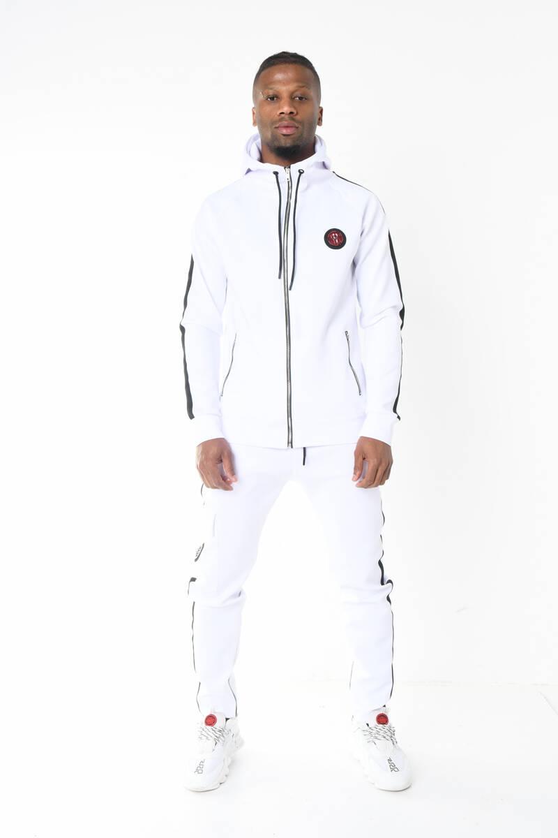 DAVID&GERENZO - Beyaz Scuba Dalgıç Kumaş Kapüşonlu Şerit Detaylı Eşofman Takımı