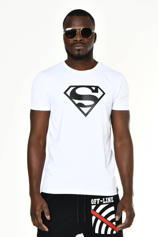 Beyaz Superman Baskı Bisiklet Yaka T-shirt
