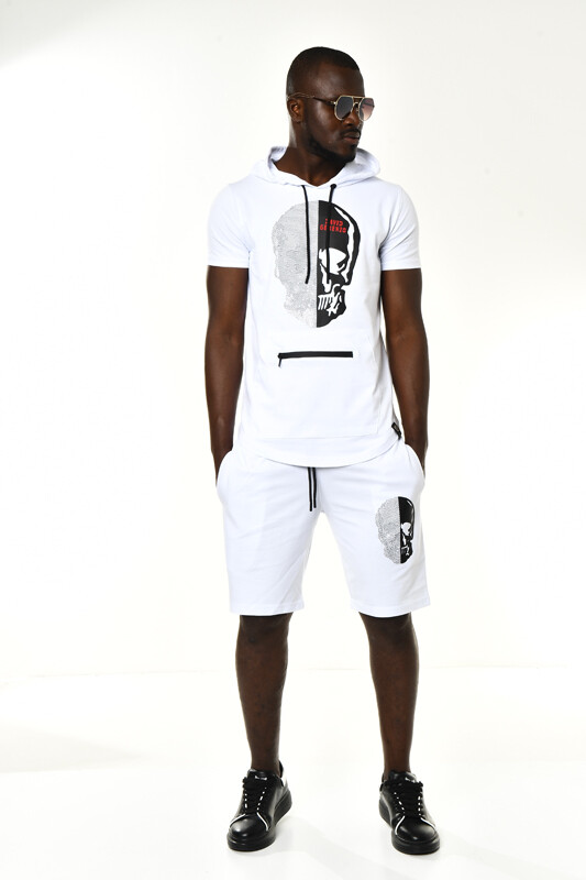 DAVID&GERENZO - Beyaz Taşlı Kuru Kafa Detay Kapüşonlu T-shirt Şort Takım