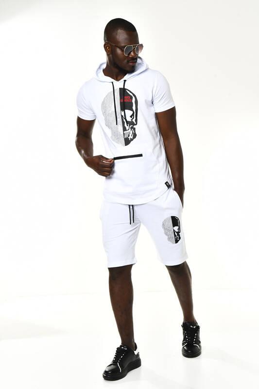 Beyaz Taşlı Kuru Kafa Detay Kapüşonlu T-shirt Şort Takım