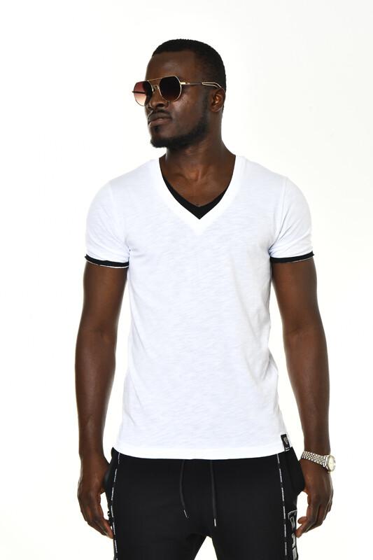 DAVID&GERENZO - Beyaz V Yaka Basic T-shirt