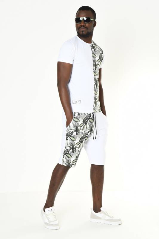 DAVID&GERENZO - Beyaz Yaprak Desenli Şort T-shirt Takım