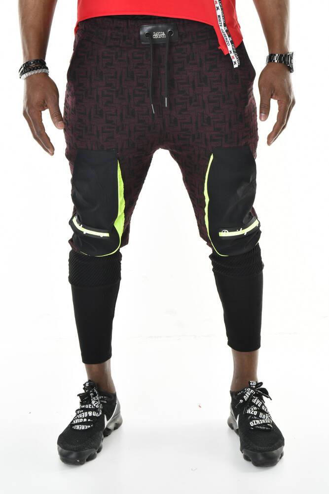 DAVID&GERENZO - Bordo Siyah Cep Detaylı Jakar Örme Ribanalı Jogger Pantolon
