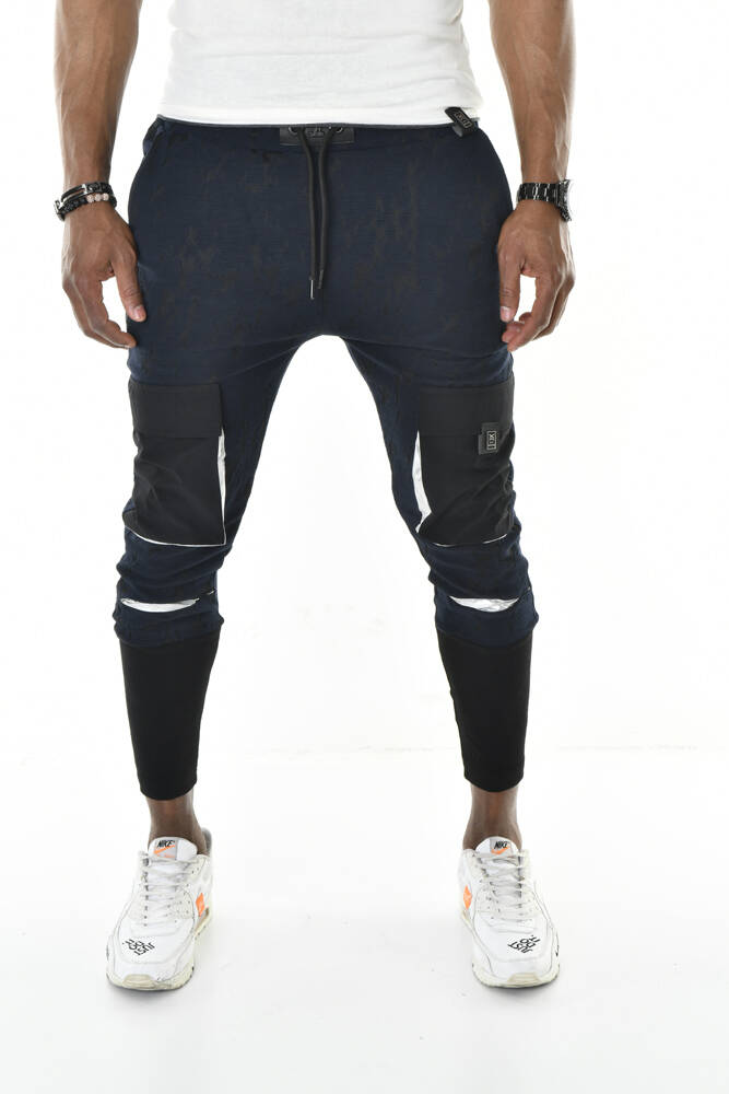DAVID&GERENZO - Cep Detay Jakar Kumaş Uzun Ribana Paça Lacivert Jogger Pantolon