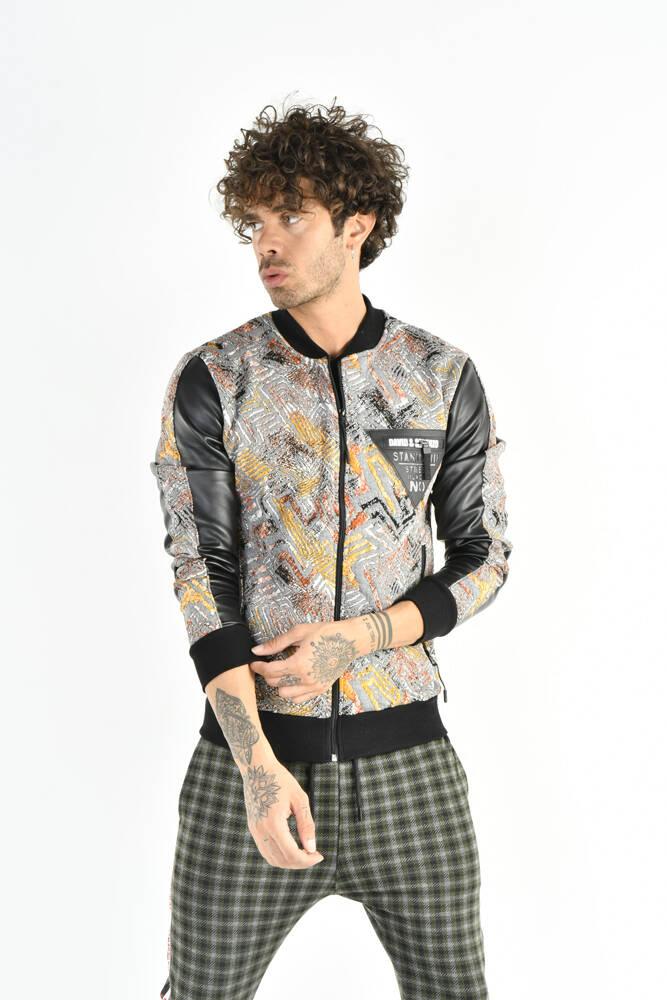 DAVID&GERENZO - Desenli Renkli Gri Fermuarlı Sweatshirt