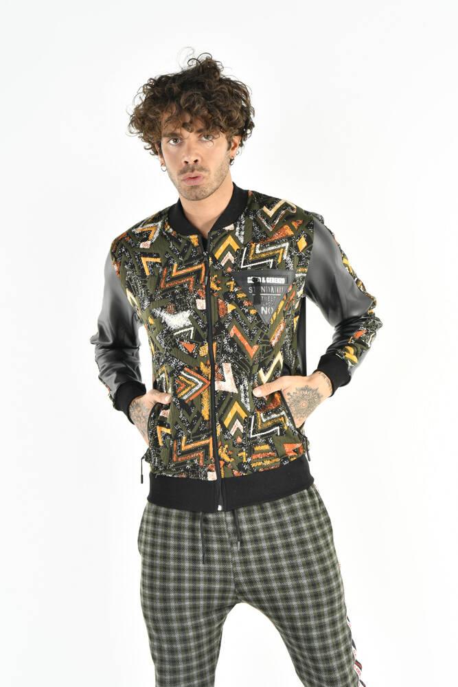 DAVID&GERENZO - Desenli Renkli Haki Fermuarlı Sweatshirt