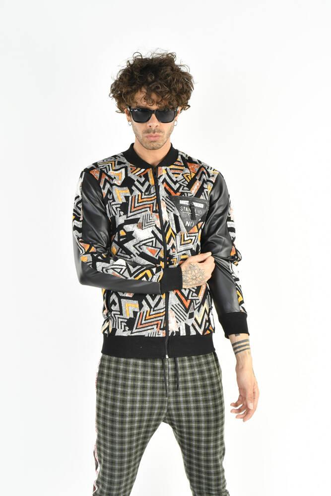 DAVID&GERENZO - Desenli Renkli Turuncu Fermuarlı Sweatshirt