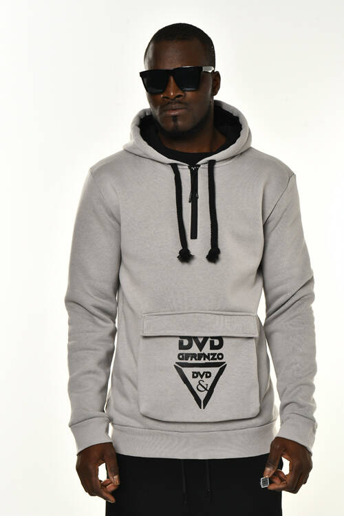 DAVID&GERENZO - Gri Cep ve Fermuarlı Yaka Detaylı Kapüşonlu Sweatshirt