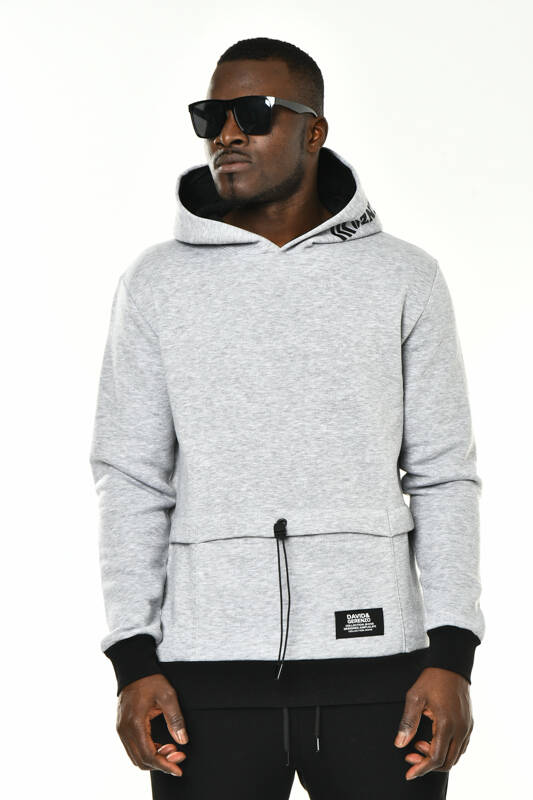 DAVID&GERENZO - Gri Gizli Cep Detay Kapüşonlu Basic Sweatshirt