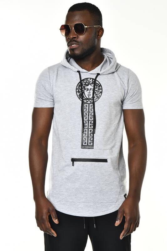DAVID&GERENZO - Gri Medusa Baskı ve Cep Detaylı Kapüşonlu T-shirt