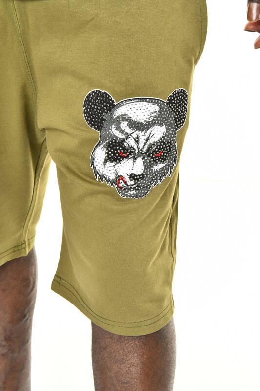 Haki Panda Baskı Kapüşonlu Şort T-shirt Takım