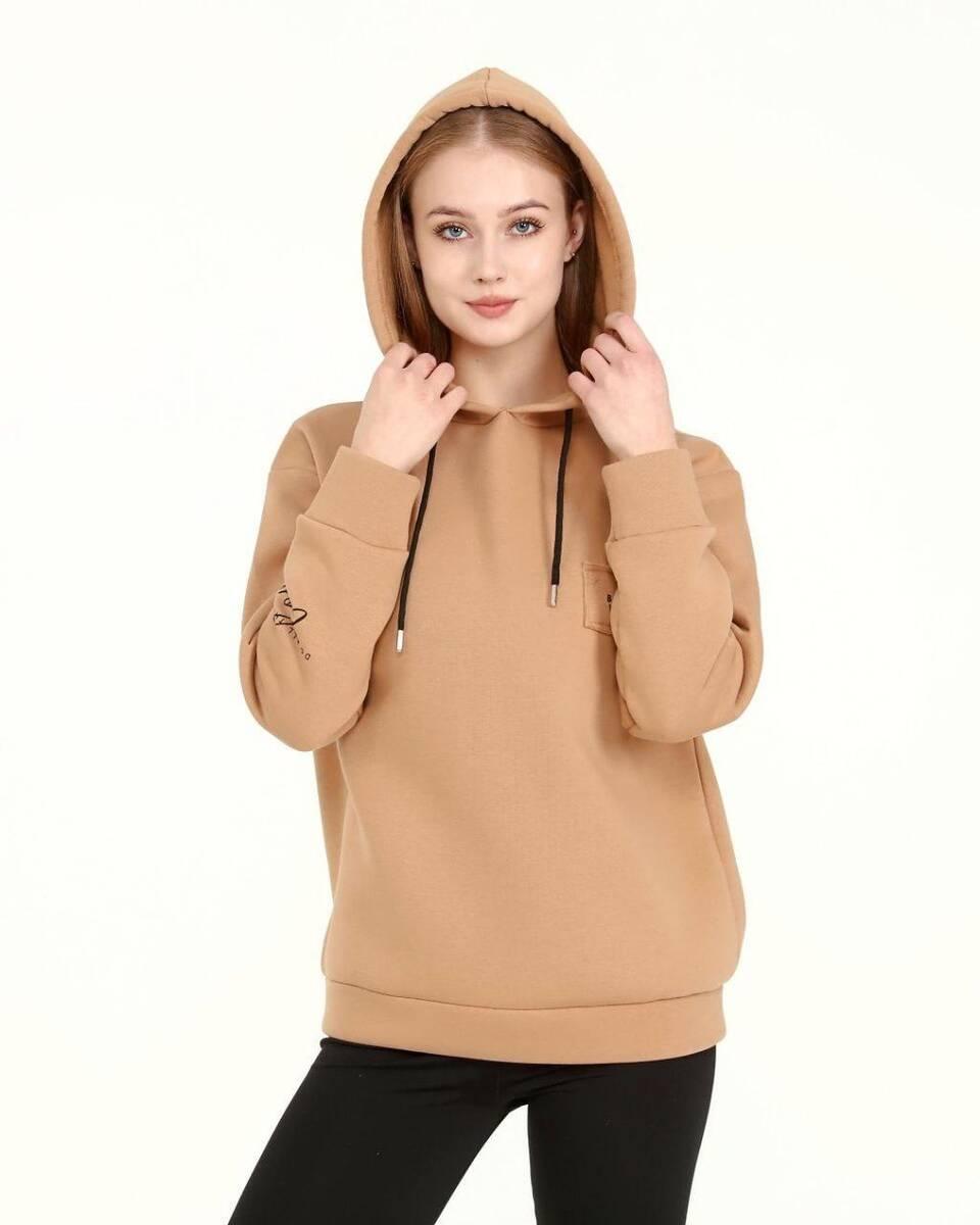 DAVID&GERENZO - Kahverengi Baskı Detay Kapüşonlu Basic Sweatshirt
