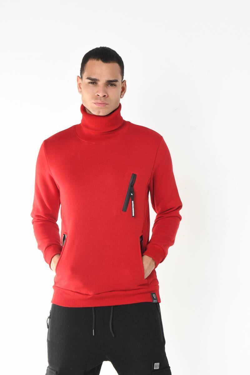 Kırmızı Balıkçı Yaka Fermuar Aksesuarlı Cep Detaylı Sweatshirt
