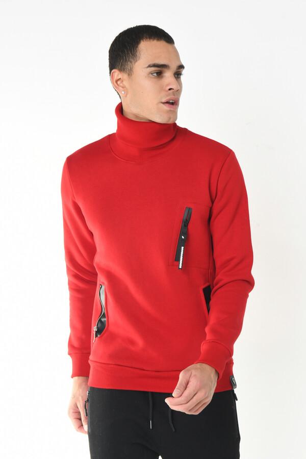 DAVID&GERENZO - Kırmızı Balıkçı Yaka Fermuar Aksesuarlı Cep Detaylı Sweatshirt