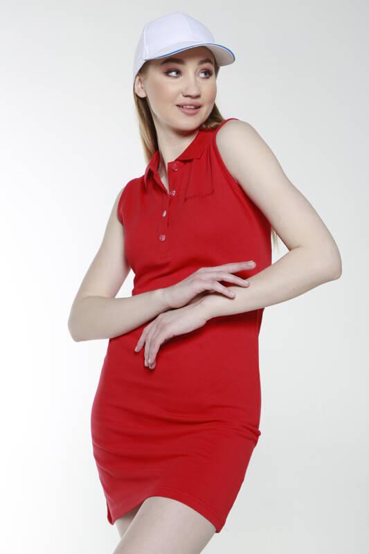 DAVID&GERENZO - Kırmızı Sıfır Kol Polo Yaka Elbise