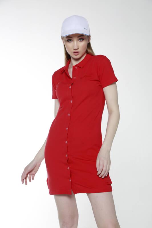 DAVID&GERENZO - Kırmızı Polo Yaka Elbise