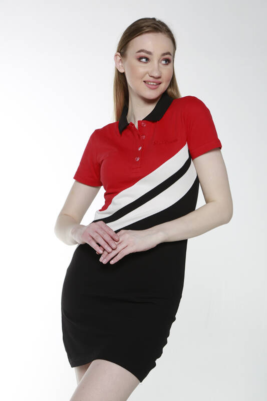 DAVID&GERENZO - Kırmızı Siyah Renk Geçişli Polo Yaka Elbise