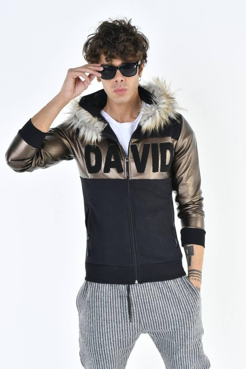 DAVID&GERENZO - Kürk Kapüşonlu Deri Detay DAVID Fermuarlı Vizon Sweatshirt