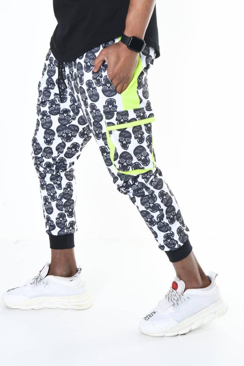 DAVID&GERENZO - Beyaz Kuru Kafa Desenli Neon Cep Detaylı Jogger Pantolon