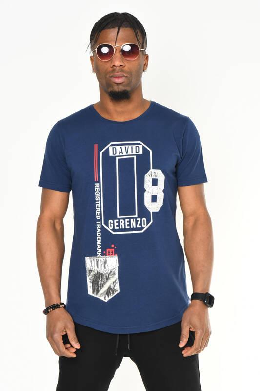 DAVID&GERENZO - Lacivert Mini Cep Detaylı Baskılı Bisiklet Yaka T-shirt