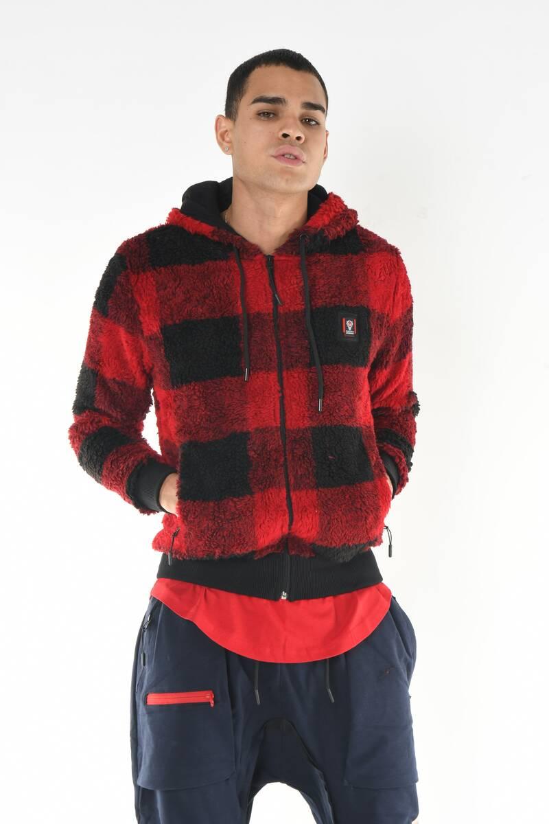 DAVID&GERENZO - Polar Kapüşonlu Fermuarlı Kırmızı Sweatshirt