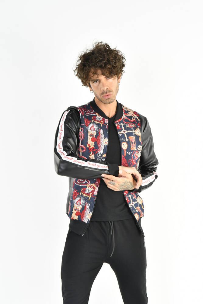 DAVID&GERENZO - Renkli Desenli Deri Görünümlü Fermuarlı Lacivert Ceket