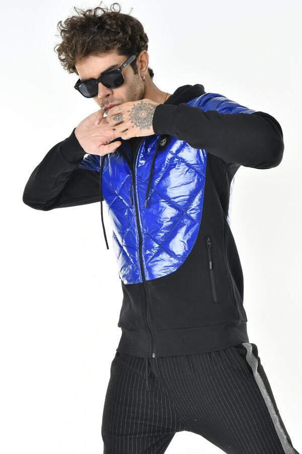DAVID&GERENZO - Saks Mavisi Kapitone Kapüşonlu Fermuarlı Sweatshirt