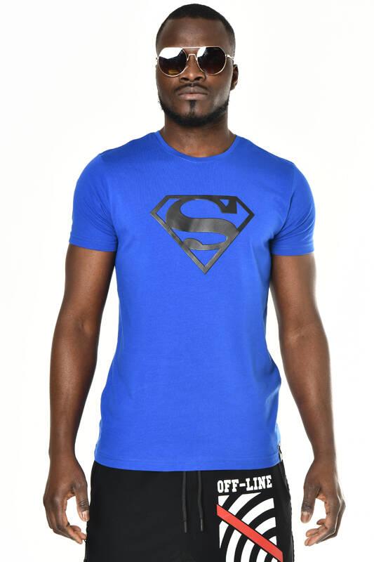 DAVID&GERENZO - Saks Mavisi Superman Baskı Bisiklet Yaka T-shirt