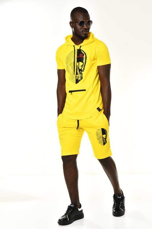 DAVID&GERENZO - Sarı Taşlı Kuru Kafa Detay Kapüşonlu T-shirt Şort Takım