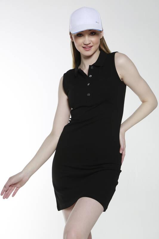 DAVID&GERENZO - Siyah Sıfır Kol Polo Yaka Elbise