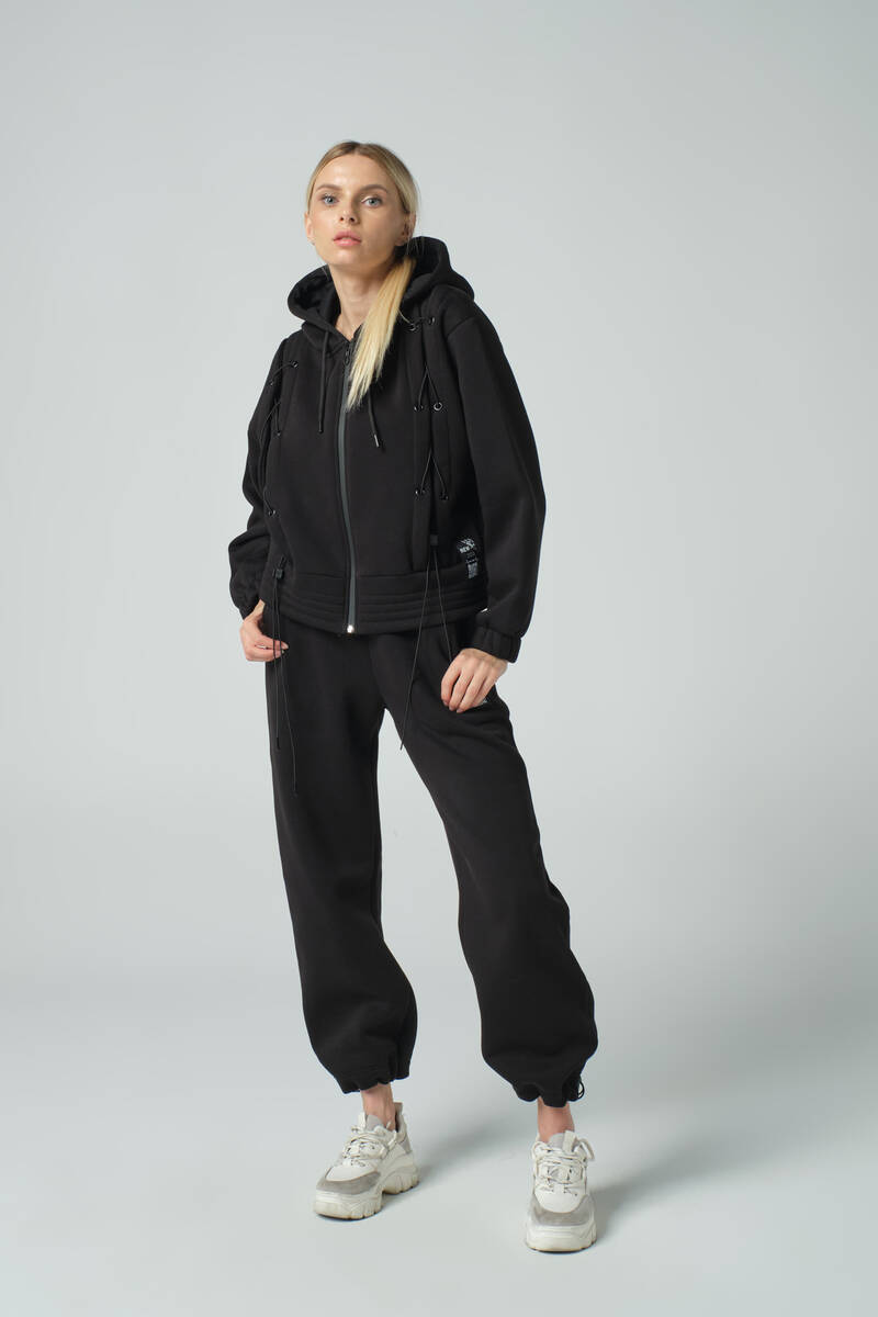 DAVID&GERENZO - Siyah Çapraz Bağcık Detaylı Fermuarlı Kapüşonlu Oversize Eşofman Takımı