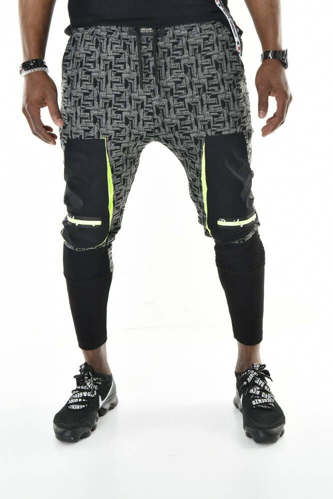 DAVID&GERENZO - Siyah Cep Detaylı Jakar Örme Ribanalı Jogger Pantolon