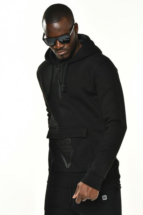 DAVID&GERENZO - Siyah Cep ve Fermuarlı Yaka Detaylı Kapüşonlu Sweatshirt