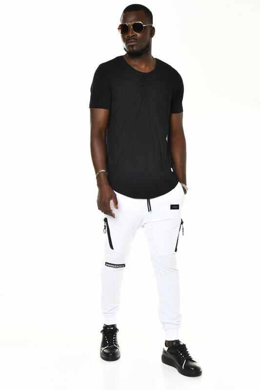 DAVID&GERENZO - Siyah David Kırışık Desenli Bisiklet Yaka T-shirt