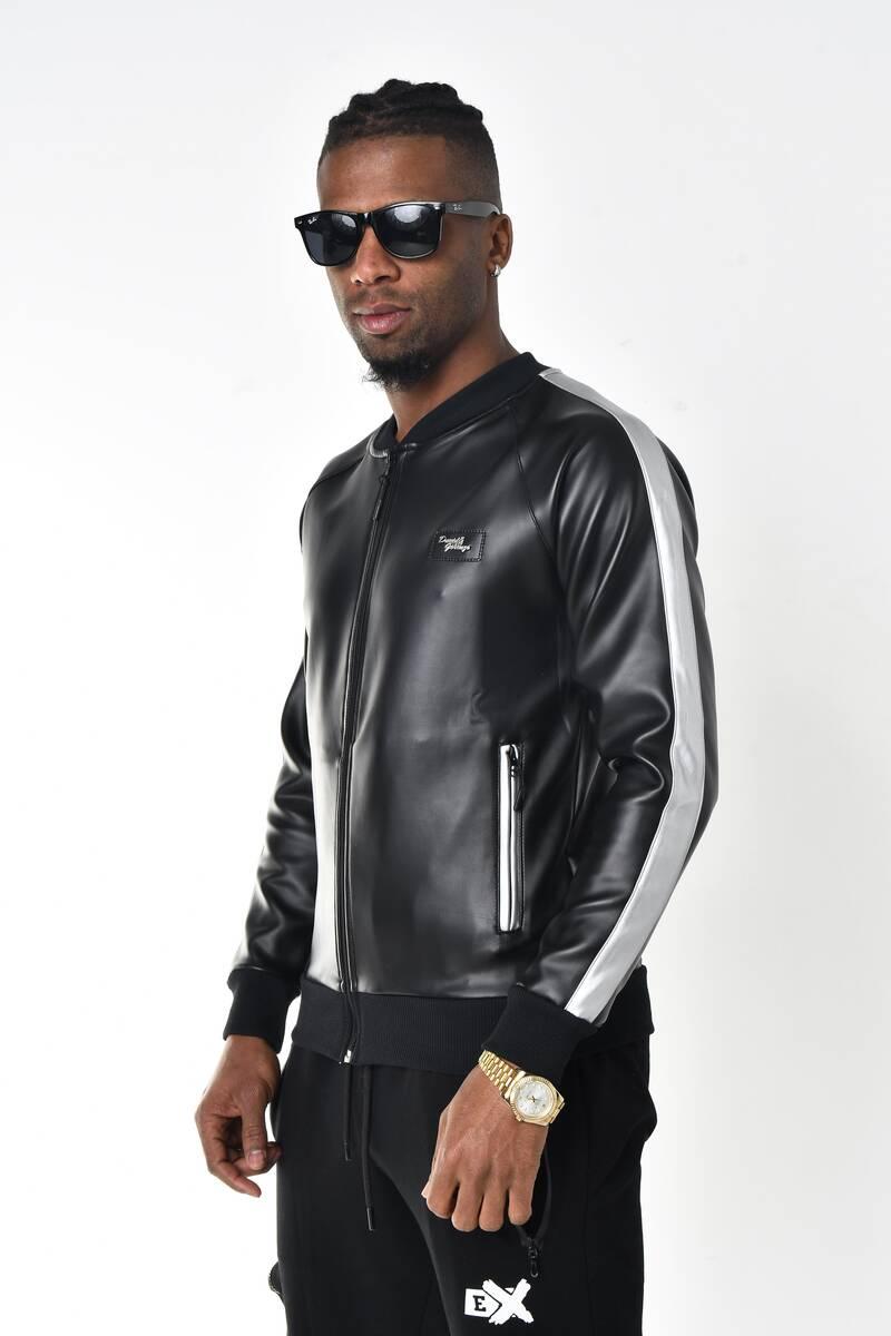 DAVID&GERENZO - Siyah Deri Görünümlü Gümüş Kol Şerit Detay Fermuarlı Ceket