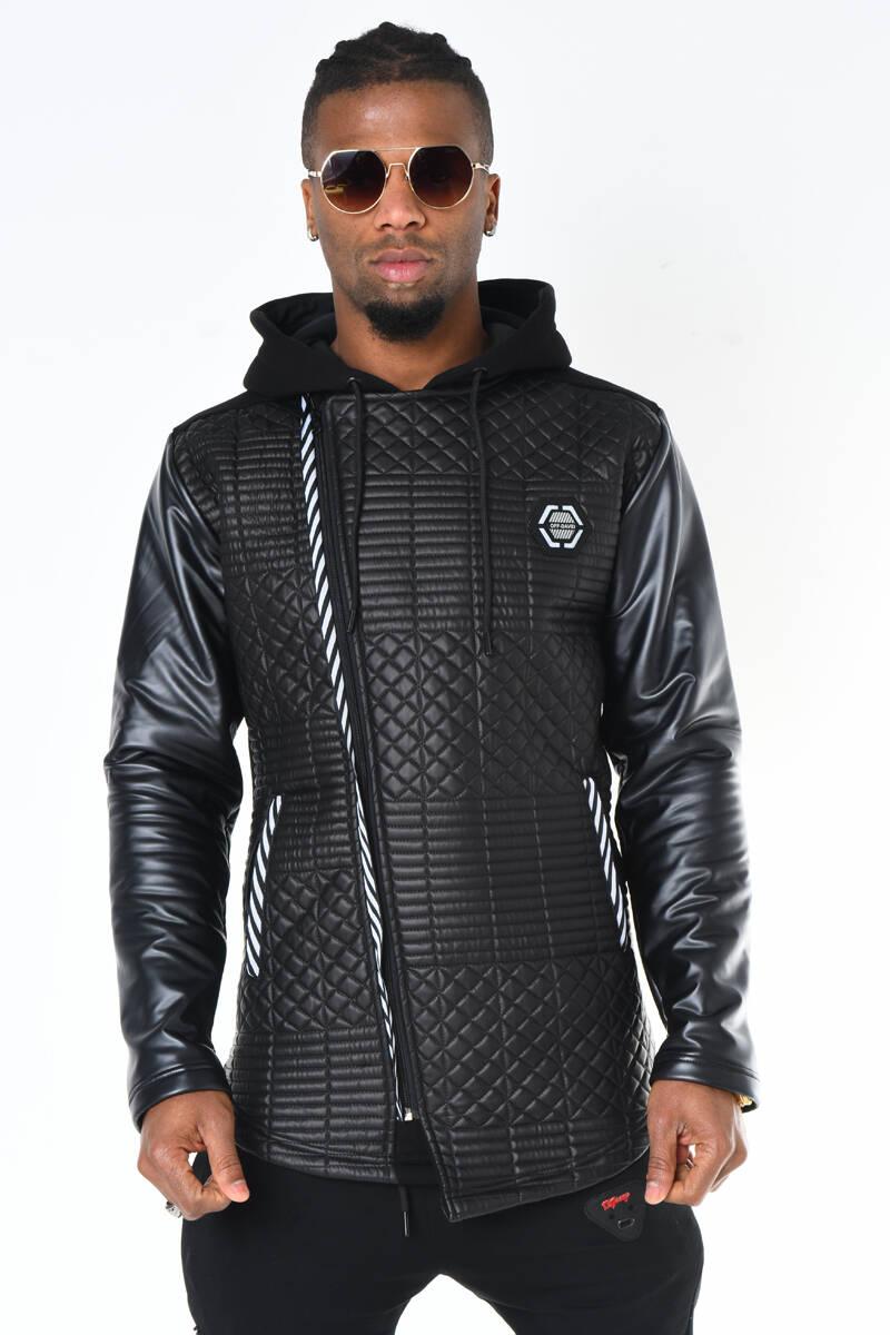 DAVID&GERENZO - Siyah Deri Görünümlü Kapitone Desen Kapüşonlu Fermuarlı Ceket