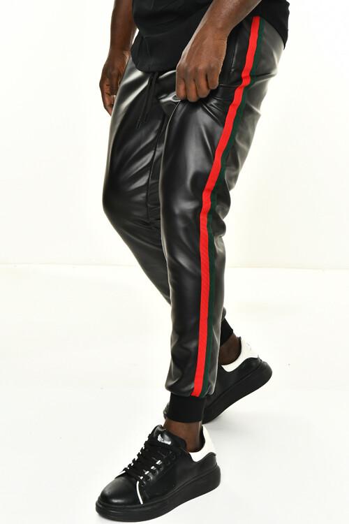 DAVID&GERENZO - Siyah Deri Görünümlü Şerit Aksesuarlı Ribana Paça Pantolon