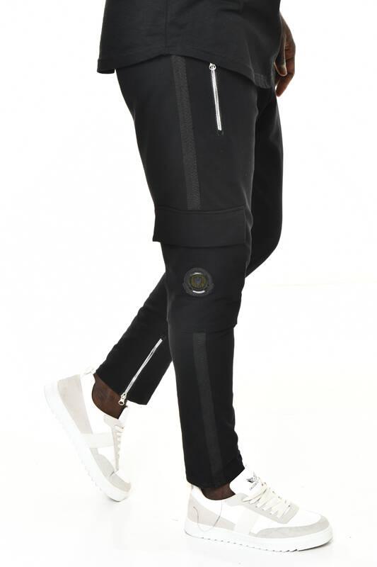DAVID&GERENZO - Siyah Fermuarlı Cep ve Şerit Detaylı Eşofman Altı