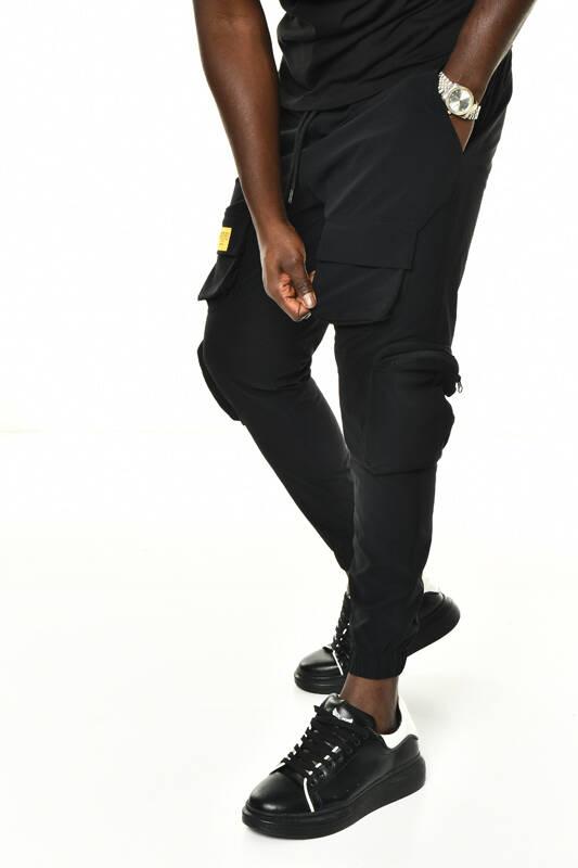 DAVID&GERENZO - Siyah Fermuarlı Kargo Cep Detaylı Lastik Paça Jogger Eşofman Altı