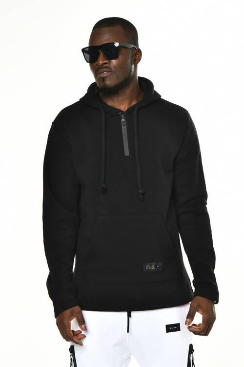DAVID&GERENZO - Siyah Fermuarlı Yaka Detaylı Sweatshirt