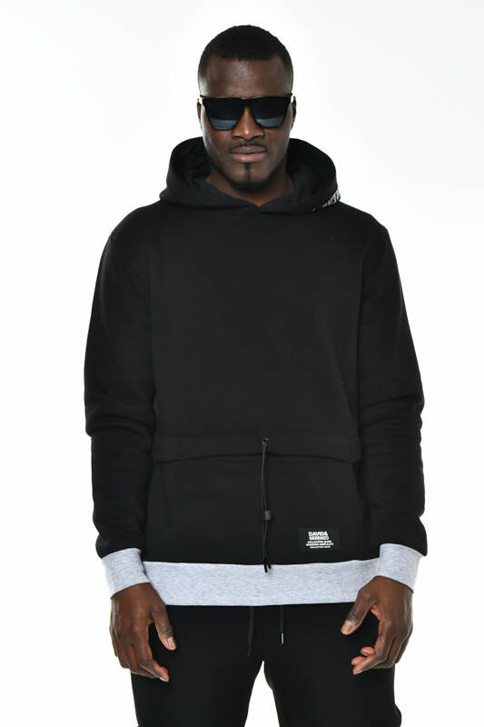 DAVID&GERENZO - Siyah Gizli Cep Detay Kapüşonlu Basic Sweatshirt