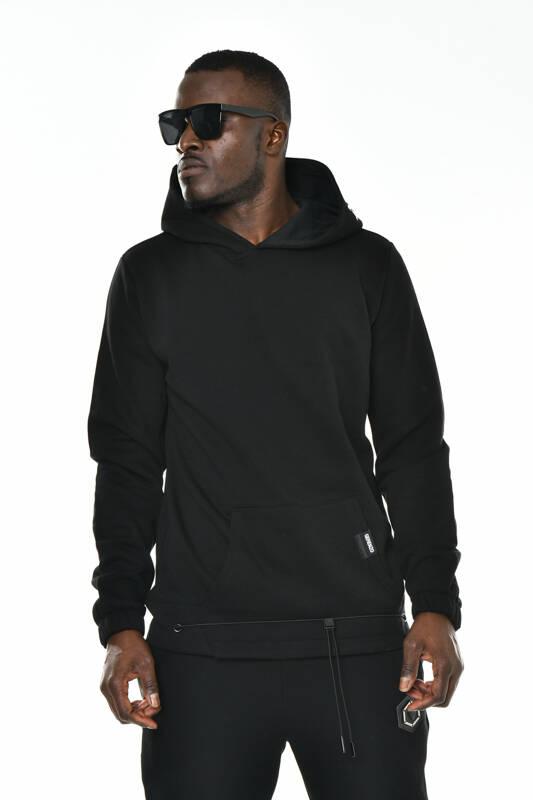 DAVID&GERENZO - Siyah Kapüşon Baskı Detaylı Kanguru Cepli Sweatshirt