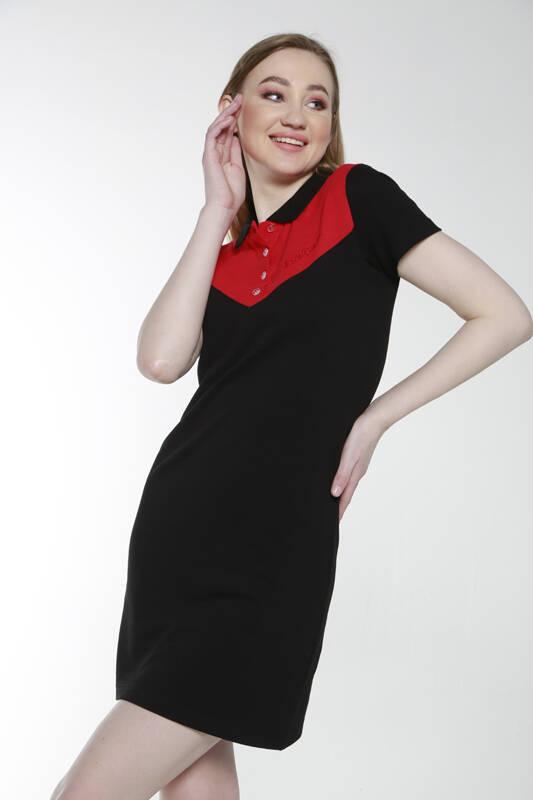 DAVID&GERENZO - Siyah Kırmızı Renk Geçişli Polo Yaka Elbise