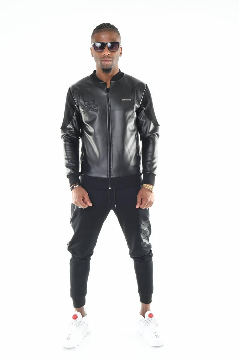 DAVID&GERENZO - Siyah Kuru Kafa Ve Nervür Kol Detaylı Fermuarlı Deri Görünümlü Ceket