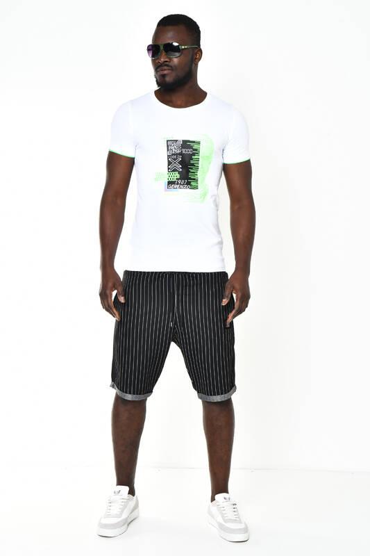 DAVID&GERENZO - Siyah Logo Aksesuarlı Çizgili Şort