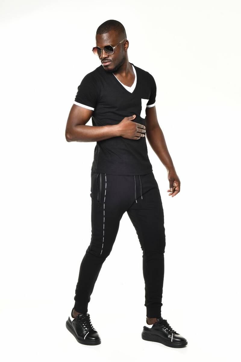 Siyah Mini Cep Detaylı V Yaka Basic T-shirt